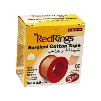 RED RINGS SURGICAL COTTON TAPE Chirurgická páska bavlněná 5m x 2,5cm