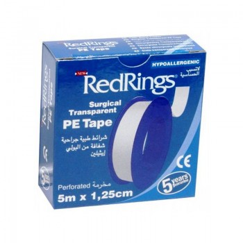 RED RINGS SURGICAL TRANSPARENT PE TAPE Chirurgická páska průhledná Polyesterová 5m x 1,25cm
