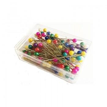 ŠPENDLÍKY Niklované s barevnou perleťovou hlavičkou 100ks