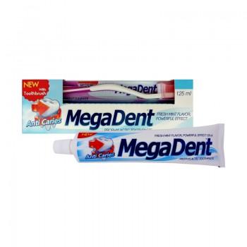 MEGA DENT ANTI CARIES Zubní pasta proti zubnímu kazu 125ml + Zubní kartáček MEDIUM 1ks ZDARMA