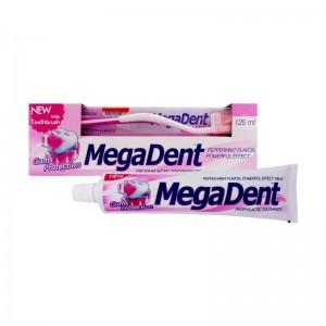 MEGA DENT GUMS PROTECTION Zubní pasta pro ochranu dásní 125ml + Zubní kartáček MEDIUM 1ks ZDARMA