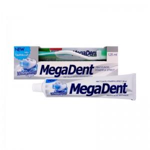 MEGA DENT WHITENING Zubní pasta bělicí 125ml + Zubní kartáček MEDIUM 1ks ZDARMA
