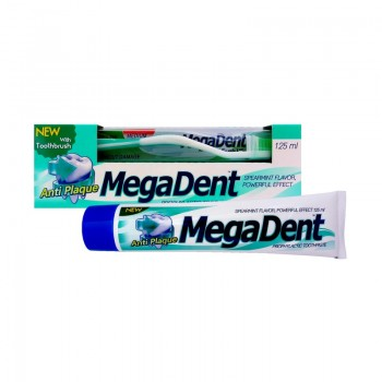 MEGA DENT ANTI PLAQUE Zubní pasta proti zubnímu plaku a kameni 125ml + Zubní kartáček MEDIUM 1ks ZDARMA