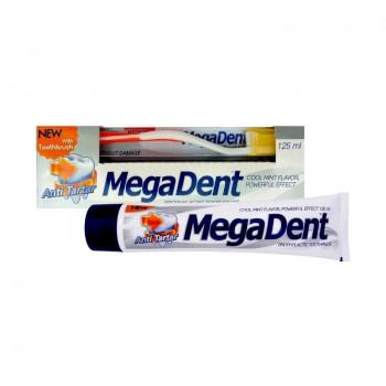 MEGA DENT ANTI TARTAR Zubní pasta proti zubnímu kameni 125ml + Zubní kartáček MEDIUM 1ks ZDARMA